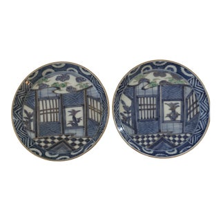 Antique Chinese Blue and White Decorative Plates - a Pair For Sale