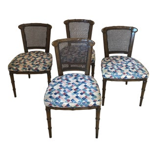 Walnut Henredon Chinoiserie Hollywood Regency Faux Bamboo Caned Side Chairs - Set of 4 For Sale