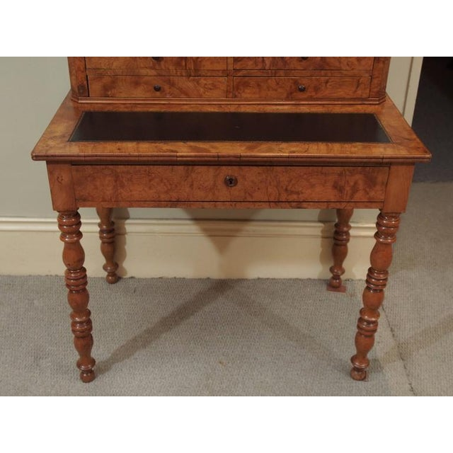 Antique French Louis Philippe Burled Elm Writing Table or Secretaire For Sale - Image 4 of 9