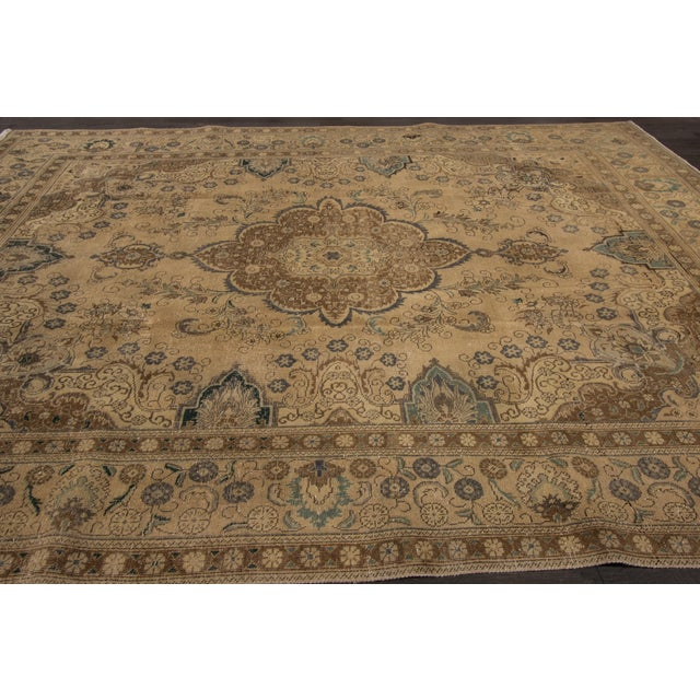 "Islamic Apadana Vintage Tabriz Rug - 9'4"" x 12'5"" For Sale - Image 3 of 6"