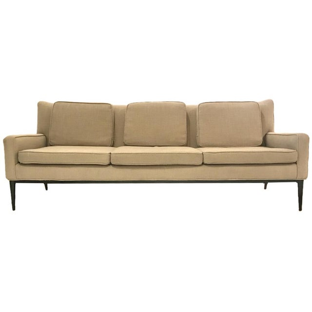 """Textile Sleek Paul McCobb Sofa Model 1307 for Directional in """"Oatmeal"""" Upholstery For Sale - Image 7 of 7"""