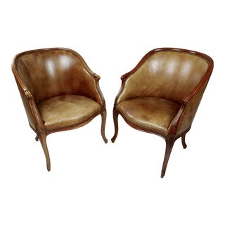 George III Style Mahogany Library Tab Chairs Leather Upholstered -A Pair For Sale