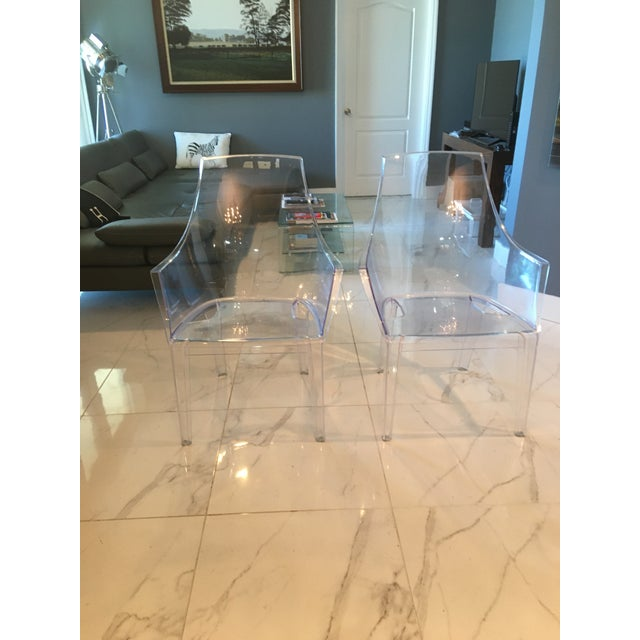 Mitchell Gold and Bob Williams Clair Clear Transparent Dining Chairs - A Pair For Sale In Miami - Image 6 of 7