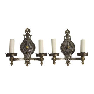 1930s Art Deco Nickel Over Brass 2 Arm Wall Sconces For Sale