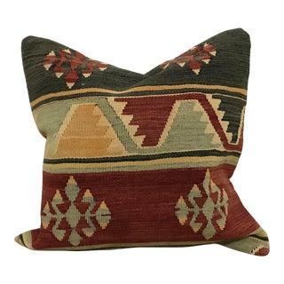 Vintage Turkish Handwoven Kilim Pillow Cover For Sale