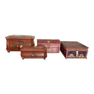 Decorative Painted Wooden Boxes - Set of 4