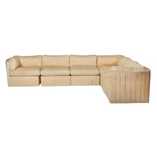 1970s Vintage Milo Baughman Scalloped-Back Sectional Sofa For Sale