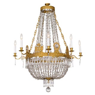 Fine French Empire Eight-Light Ormolu and Crystal Chandelier For Sale