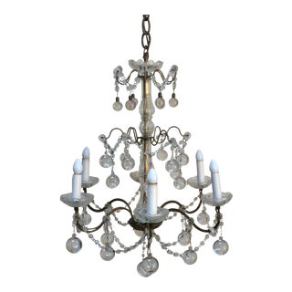 Vintage Clear Murano Drop Italian Chandelier For Sale