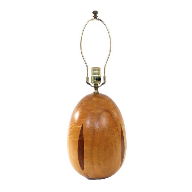 1970s Danish Modern Birds Eye Maple Table Lamp - Image 1 of 7