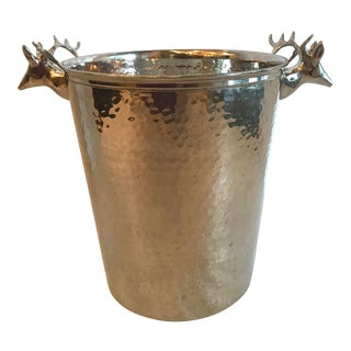 Hammered Stainless Deer Head Champagne Bucket For Sale