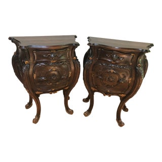 Louis XV Style Walnut Bombe Commodes, a Pair For Sale