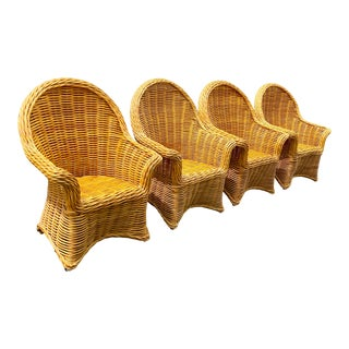 Vintage Woven Rattan Chairs - Set of 4 For Sale