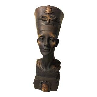 Vintage Ancient Egyptian Style Nefertiti Wood Sculpture For Sale