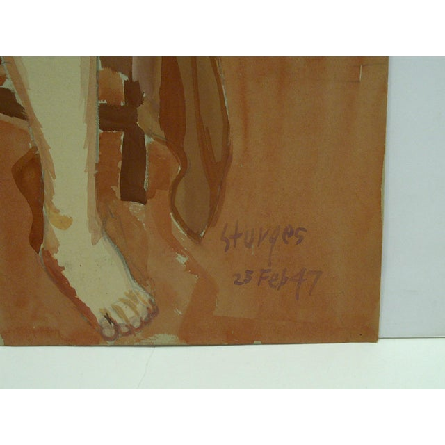 """1940s 1947 Mid-Century Modern Original Painting on Paper, """"Hunched Down Nude"""" by Tom Sturges Jr For Sale - Image 5 of 6"""
