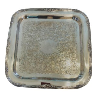Vintage Square Silverplate Footed Tray by Continental Sheffield. Co. For Sale