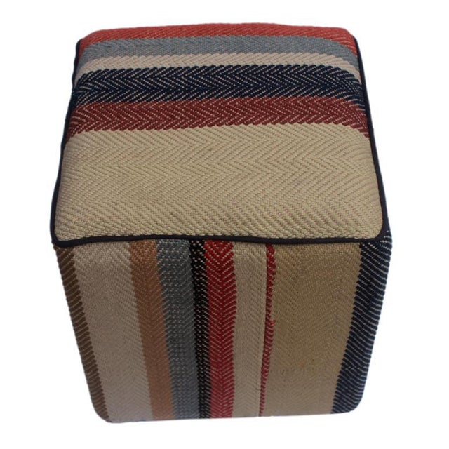 Asian Arshs Dong Brown/Blue Kilim Upholstered Handmade Ottoman For Sale - Image 3 of 8