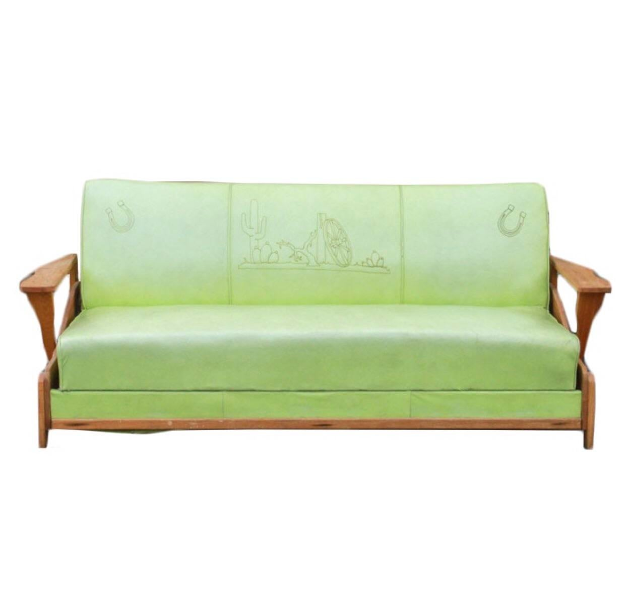 Mid Century Western Lime Green Sofa For Sale   Image 10 Of 10