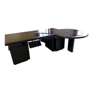 Guido Faleschini for Pace Black Leather and Glass Executive Desk For Sale