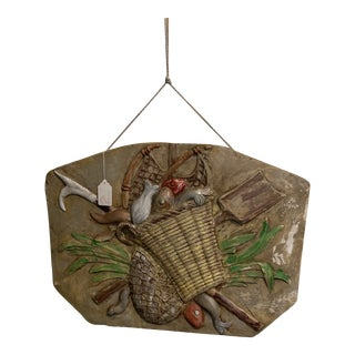 French Wall Plaque With Basket of Food For Sale