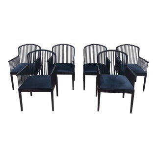 1980s Vintage Davis Allen for Stendig of Italy Andover Spindle Back Arm Chairs - Set of 6 For Sale