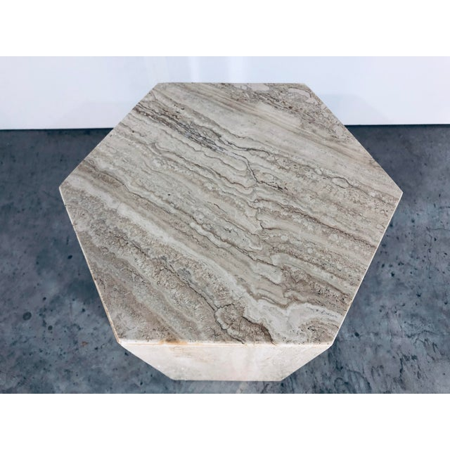 1970s Mid-Century Modern Hexagonal Italian Travertine Pedestal or Side Table For Sale - Image 9 of 10