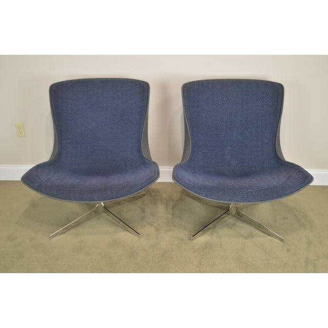 Monica Forster for Bernhardt Pair of Chrome Base Swivel Vika Lounge Chairs For Sale - Image 10 of 13