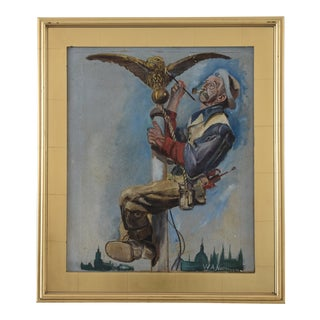 "Early 1900s Norman Rockwell-Style Americana ""Gilding the Eagle"" Painting For Sale"