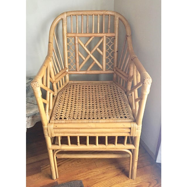 Caning Vintage Mid Century Chinoiserie Brighton Pavilion Style Rattan & Cane Arm Chair For Sale - Image 7 of 7