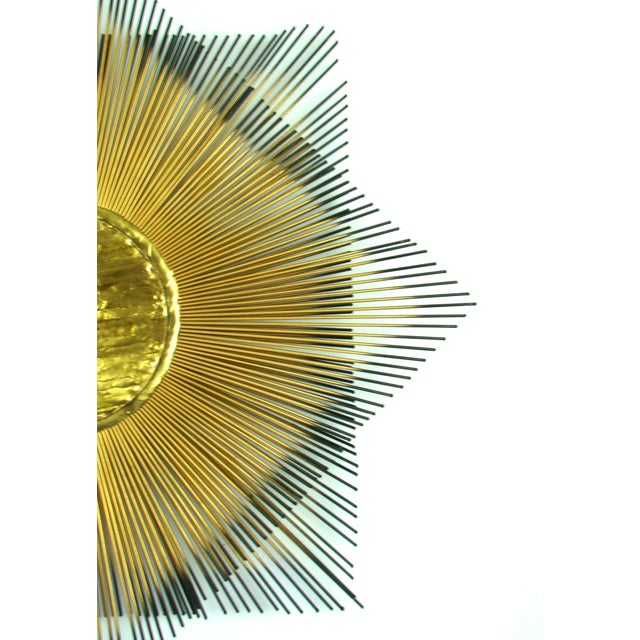Signed Mid-Century Modern George Nelson Style Brass Sunburst Wall Clock - Image 6 of 10