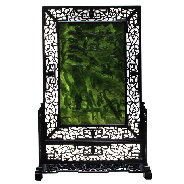 Chinese Vintage Spinach Green Stone Scenery Carving Table Top Wall Panel Displa For Sale In San Francisco - Image 6 of 13