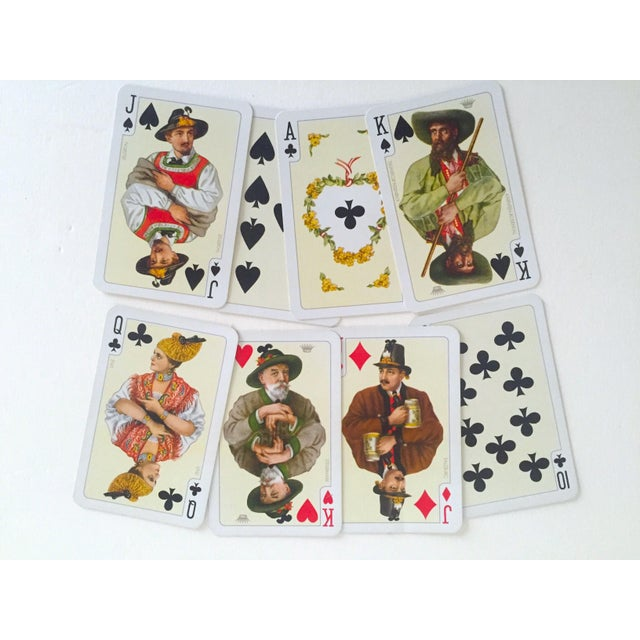 French Provincial Vintage Mid-Century Folklore Lithograph Playing Cards Double Deck Boxed Set For Sale - Image 3 of 6