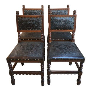 Antique French Renaissance Carved Oak & Leather Dining Chairs - Set of 4