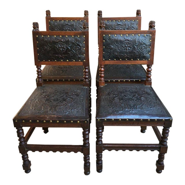 Antique French Renaissance Carved Oak & Leather Dining Chairs - Set of 4 - Antique French Renaissance Carved Oak & Leather Dining Chairs - Set