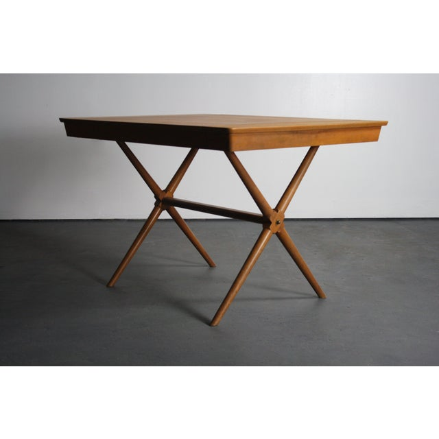 1950's Saddle Walnut Dining Table in the manner of T.H. Robsjohn-Gibbings for Widdicomb Beautiful 1950's Mid Century...