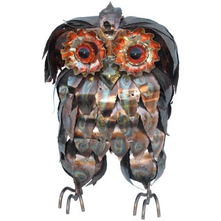 1960s Brutalist Owl Sculpture For Sale