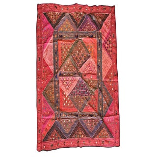 Vintage Hand Crafted Red Mirror Embroidered Wall Tapestry For Sale