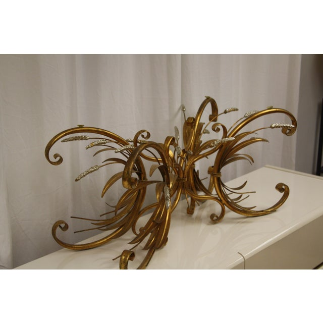 Boho Chic Vintage Gold Gilt Flower Wheat Sheaf Coffee Table For Sale - Image 3 of 7