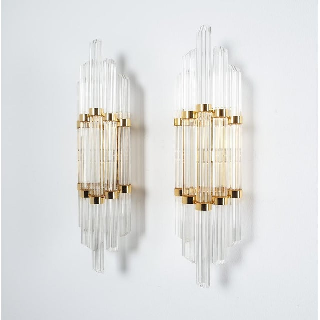Large Venini Style Murano Glass and Brass Wall Lamps Sconces, 1970 For Sale - Image 6 of 8