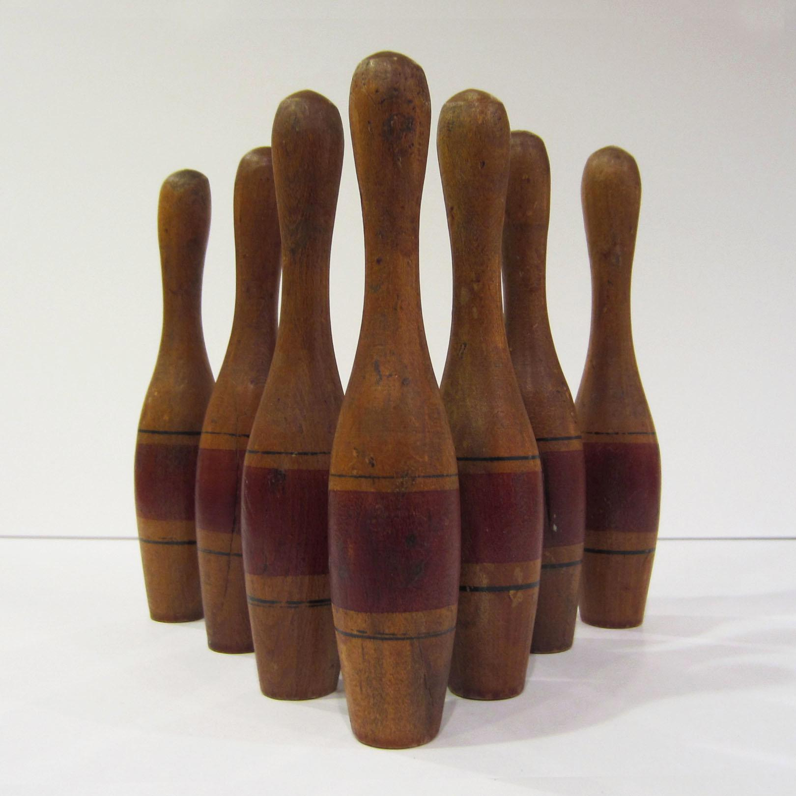 Antique Tabletop Bowling Pins   Set Of 8   Image 6 Of 8