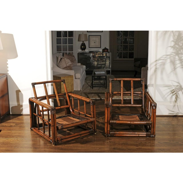 Wood A Warm and Mellow Restored Pair of Cube Loungers by Ficks Reed, Circa 1970 For Sale - Image 7 of 11
