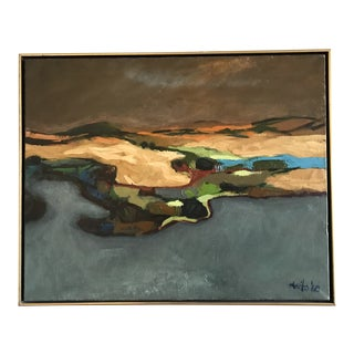 Vintage Mid-Century Larry Blovits Abstract Oil Painting For Sale