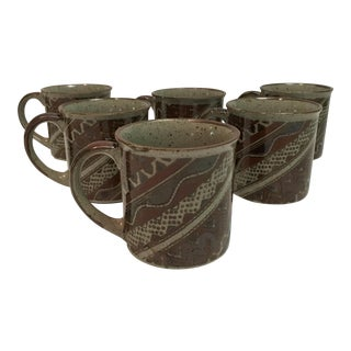 Aztec Design Stoneware Coffee Mugs - Set of 6