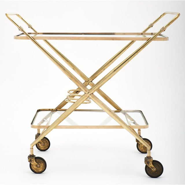 Vintage French Brass Bar Cart For Sale - Image 4 of 11