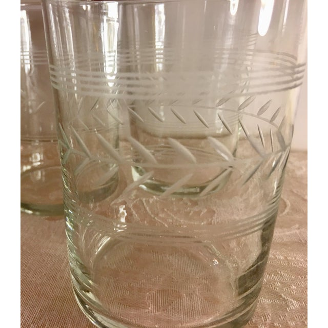 Glass Mid-Century Etched Glass Juice Glasses - Set of 6 For Sale - Image 7 of 9