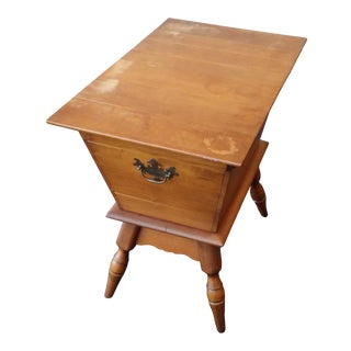 1960s Early American Birchwood Dough Box End Table For Sale