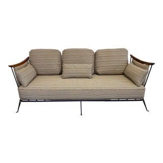 Vintage Iron and Teak Sofa For Sale