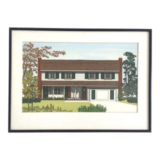 Vintage Framed Architect Print 1980s House Lithograph For Sale