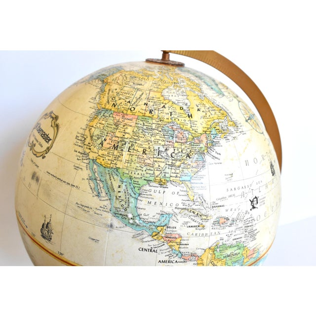 "Metal Vintage 12"" Replogle Globemaster Topographical Relief Globe For Sale - Image 7 of 10"