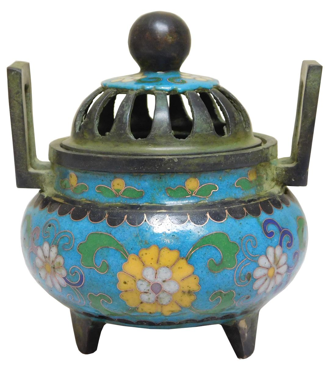 chinese metal blue enamel cloisonn u00e9 incense burner